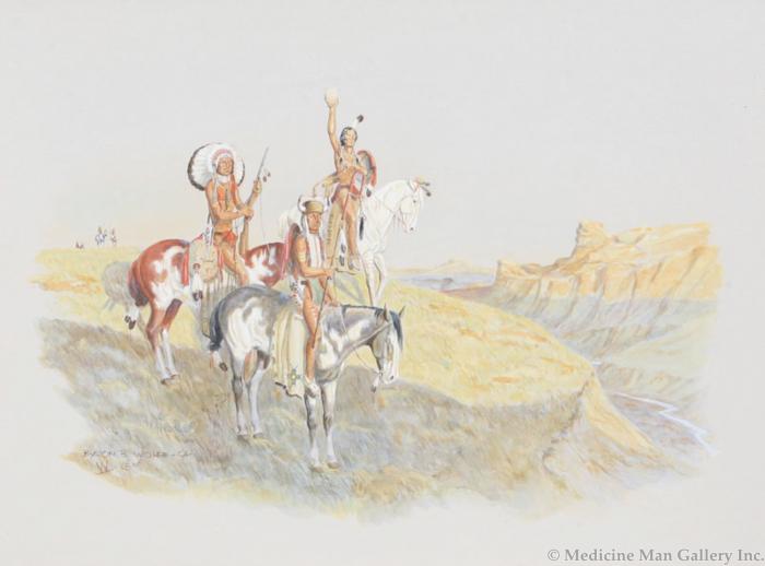 SOLD Byron Wolfe (1904-1973) - Mirror Talk Between Cheyenne War Parties