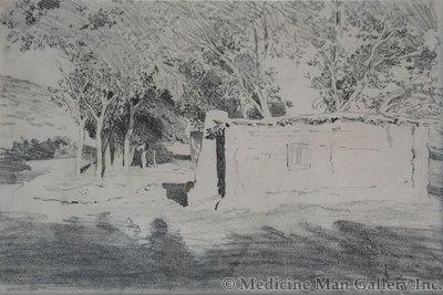 Maynard Dixon (1875-1946) - SOLD - Adobe Among Cottonwoods, Ariz.