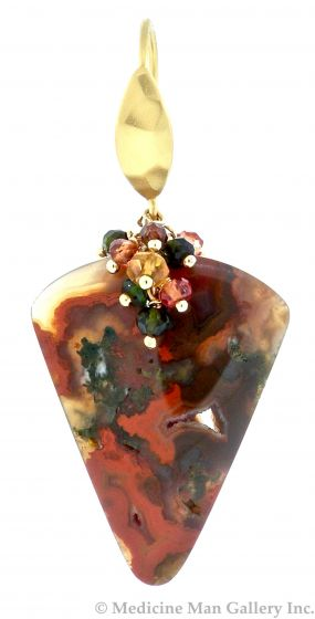"Dana Busch - ""Kilauea Speaks"" - Pair of Red Moss Agate, Citrine, Olive Green Tourmaline, Orange Sapphire, Burgundy Zircon, Emerald Green Tourmaline and 24KT Gold Vermeil Cluster Drop Earrings"