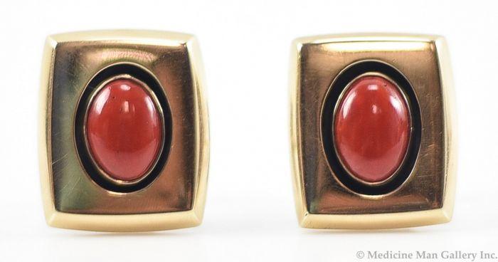 Frank Patania, Jr. - 14K Gold, Sterling Silver, and Coral Cufflinks