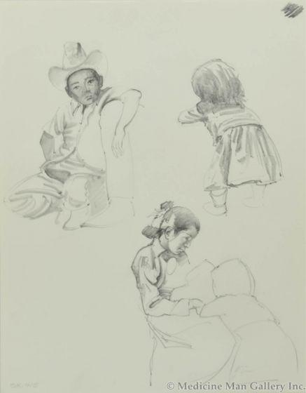 Ralph Brownell McGrew (1916-1994) - Number SK. 415, Navajo Children (PDC90536-1220-040)