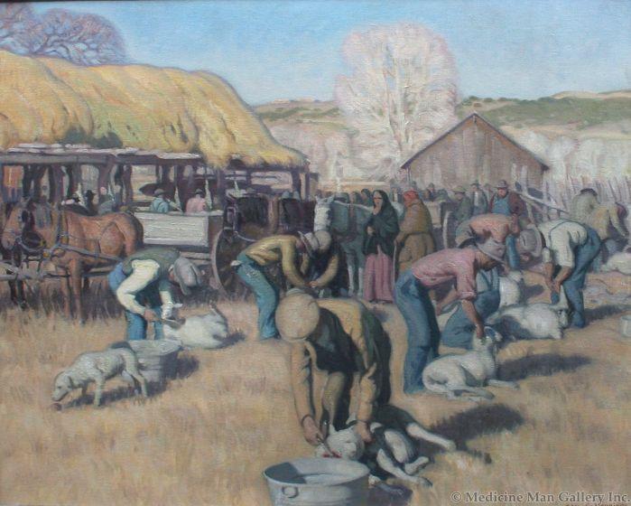 SOLD E. Martin Hennings (1886-1956) - Shearing Sheep at Los Cordovas