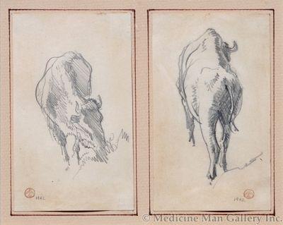 Maynard Dixon (1875-1946) - SOLD - Pair of Bison Sketches