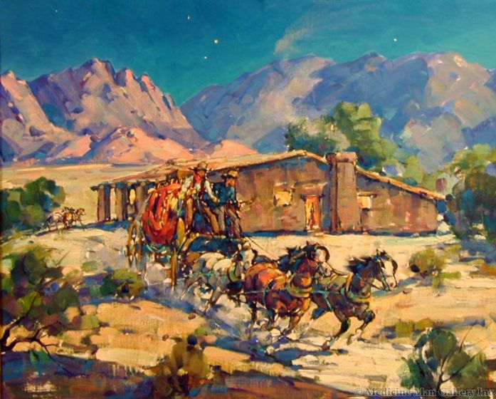 SOLD Marjorie Reed (1915-1997) - Leaving Butterfield Station at Vallecitos