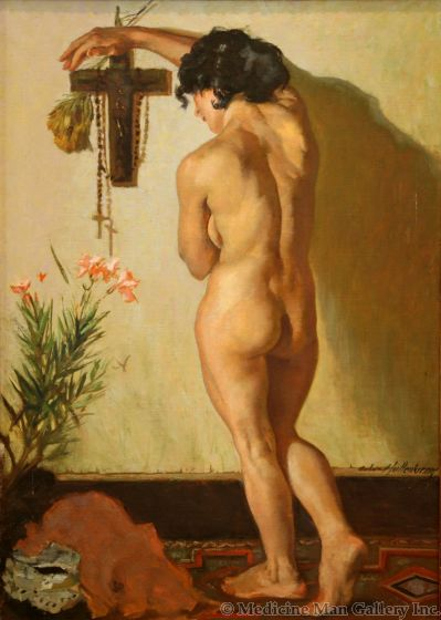 Odon Hullenkremer (1888-1978) - Nude with Lily (PDC1390)