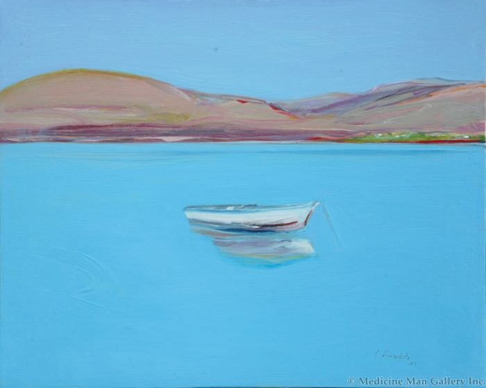 SOLD Gregory Kondos - Island Boat, Greece