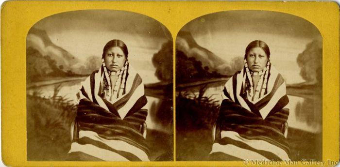 "Stereoview of Sioux Woman with First Phase Chief's Blanket, 1875, 3.5"" x 7"" (M1397)"