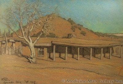 Maynard Dixon (1875-1946) - SOLD - Lorenzo Hubbell's Old Trading Post (Ganado, Arizona)