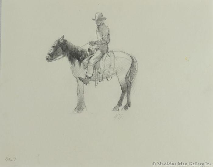 Ralph Brownell McGrew (1916-1994) - Number SK. 117, Cowboy on Horseback (PDC90536-1220-019)