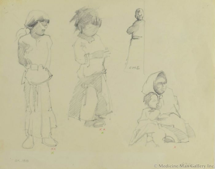 Ralph Brownell McGrew (1916-1994) - Number SK. 188, Native Figures (PDC90536-1220-046)