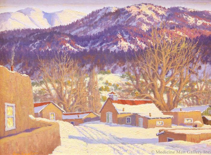 SOLD Carl von Hassler (1887-1969) - Setting Sun Glow, Valley of Questa, NM