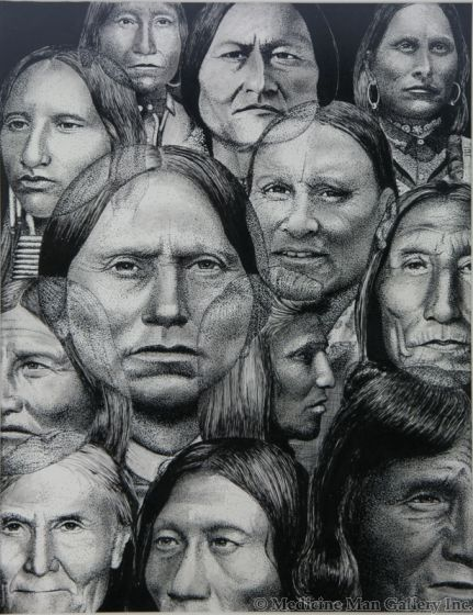 SOLD Tony Da (1940-2008) - Historical Native American Figures Drawing