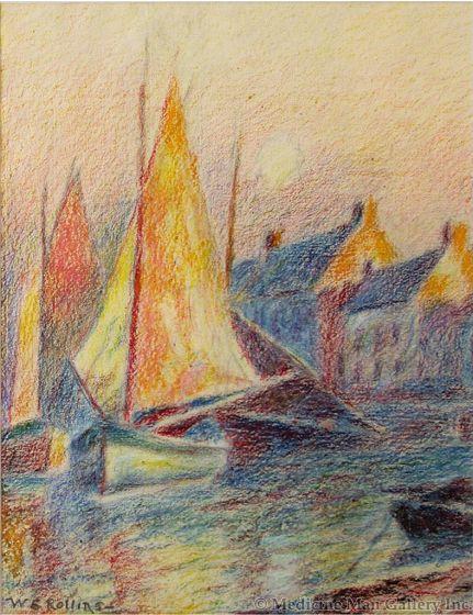 Warren E. Rollins (1861-1962) - Sailboats at Harbor