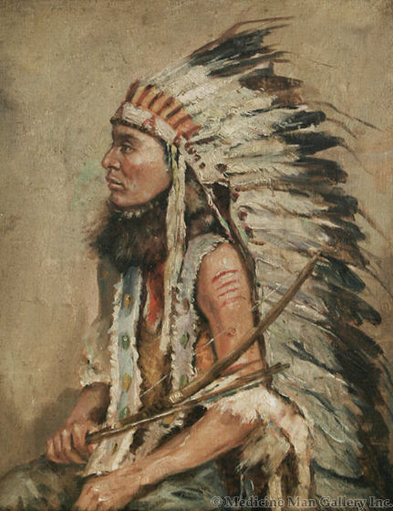 SOLD Joseph Henry Sharp (1859-1953) - Indian Chief in Feather Headdress