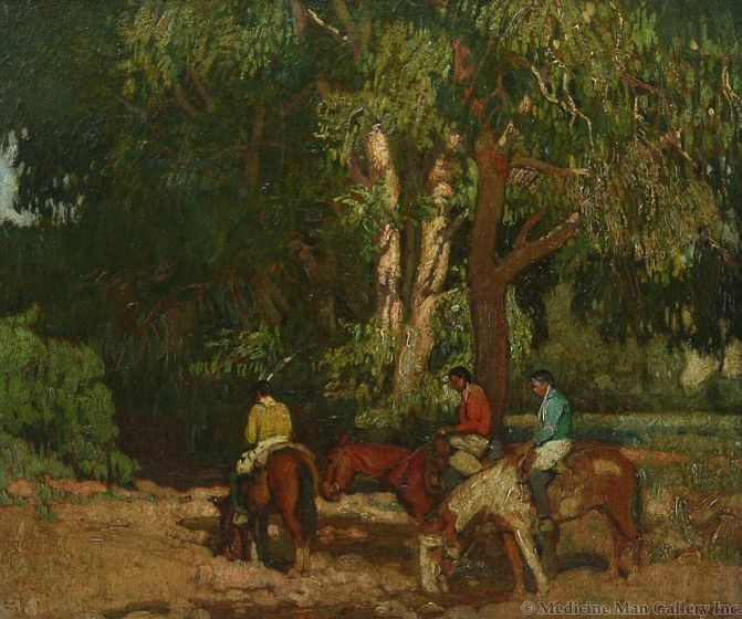 SOLD E. Martin Hennings (1886-1956) - Watering Their Horses