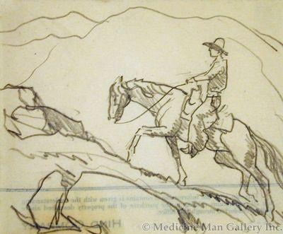 Maynard Dixon (1875-1946) - SOLD - Cowboy on Horse