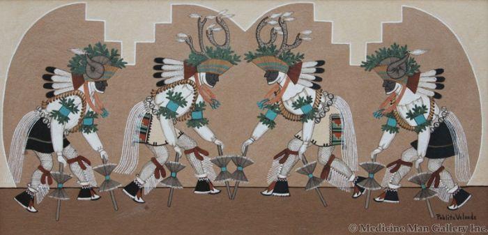 SOLD Pablita Velarde (1918-2006) - Deer and Mountain Sheep Dance