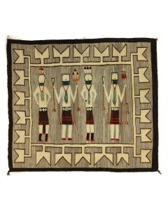 "Navajo Yei Rug with Male and Female Dancers c. 1920-30s, 57"" x 63"" (T90197-1220-002)"