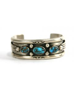 Navajo Persian Turquoise and Silver Bracelet c. 1960s, size 7 (J6660)