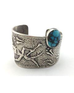 Preston Monongye - Hopi Turquoise and Silver Bracelet c. 1960s, size 6.5 (J7130)