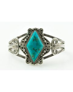 Navajo Turquoise and Silver Bracelet c. 1940s, size 6.75 (J7222)