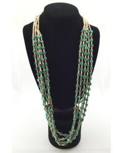 "Santo Domingo Five Strand Square Cut Turquoise Necklace, 31"""