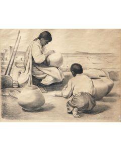 SOLD Joseph Imhof (1871-1955) - Acoma Pottery Maker