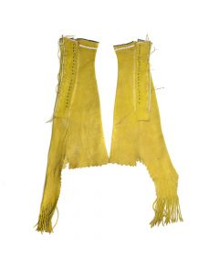 "Southern Plains Ochre Leather Beaded Leggings c. 1890s, 19"" x 9"""