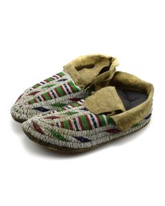 """Sioux Beaded Moccasins c. 1890s, 2.25"""" x 4"""" x 10.5"""""""