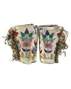 """Northern Plains Beaded Moccasins c. 1900-10s, 8"""" x 6"""" x 3.25"""" (DW1267)"""