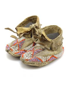 """Lot 186 - Sioux Beaded Baby Moccasins c. 1900s, 2.5"""" x 2.5"""" x 4.5"""" (DW1270)"""