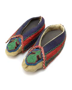 """Eastern Leather and Beaded Moccasins c. 1800s, 7.75"""" x 3.25"""" x 2.5"""" (DW1271)"""