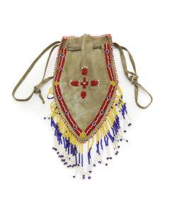 "Apache Beaded Leather Bag c. 1940s, 11"" x 5"" (DW1272)"