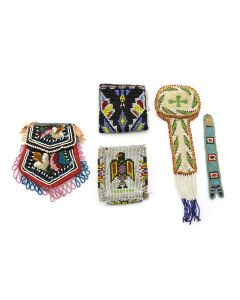 Group of 5 - Chippewa and Plains Leather Beadwork c. 1890-1940s (DW1273)