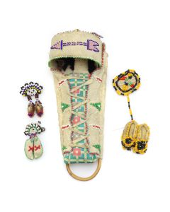 Group of 4 - Plains Child's Leather Beadwork c. 1920-40s (DW1274)