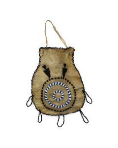 "LOT 216 - Apache Beaded Leather Bag c. 1900s, 8"" x 6.5"" (DW1282) 1"