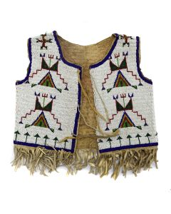 "Sioux Leather Beaded Vest c. 1890s, 15.5"" x 15"" (DW1283)"