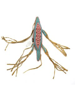 "Plains Contemporary Cheyenne Style Umbilical Cord Beaded Lizard Fetish, 1"" x 9"" x 2"" (DW90106-0311-010)"