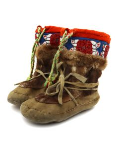 """Inuit Beaded Leather Boots c. 1920-30s, 10"""" x 11"""" x 4.5"""" (DW90747A-1020-004)"""