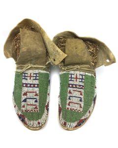 Arapahoe / Cheyenne Beaded Moccasins, c. 1890s (DW90757-0421-006)