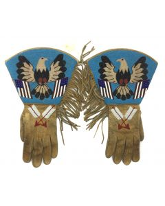 Plateau Beaded Gauntlets with Eagle, American Flags, and Arrow Pictorials c. 1900-20s (DW90757-0421-010)