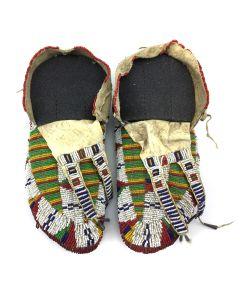 "Cheyenne Ceremonial Beaded Moccasins c. 1890s, 3.25' x 10.25"" x 4.25"" each (DW90757-0421-020)"