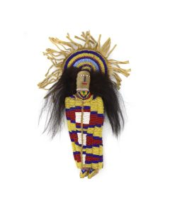 "Ute Beaded Leather Cradle Doll c. 20th Century, 11.25"" x 5"" x 2"" (DW91243B-0721-008)"