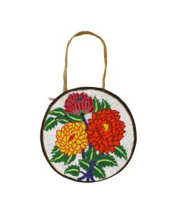 """Plateau Beaded Leather Bag with Handle, 10.25"""" diameter (DW91303C-0821-002)"""