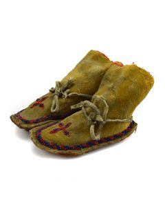 "Sioux Beaded Child's Moccasins c. 1900s, 4"" x 2.5"" x 6"""