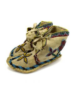 "Sioux Beaded Child's Moccasins with Flower Designs c. 1900s, 3.5"" x 3"" x 7"""