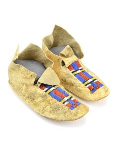 "Northern Plains Beaded Leather Moccasins c. 1900s, 4"" x 9.25"" x 3.75"""