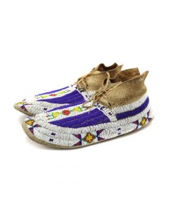 "Sioux Beaded Moccasins c. 1890s, 4.5"" x 11"" x 4.25"" (DW92005A-0420-006)"