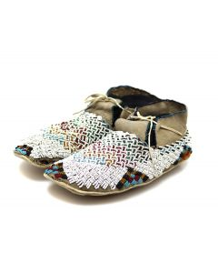 """Gros Ventre Leather Beaded Moccasins c. 1890s, 3.25"""" x 9.5"""" x 3.5"""" (DW92323A-0421-002)"""