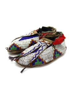 """Cheyenne Leather Beaded Moccasins with Trade Cloth and Quillwork c. 1880-90s, 3"""" x 10"""" x 4"""" (DW92323A-0421-010)"""